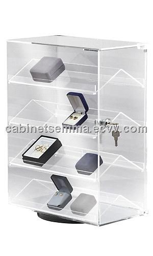 Countertop Acrylic Display Case Boxed Jewelry Rack Rotating Lucite