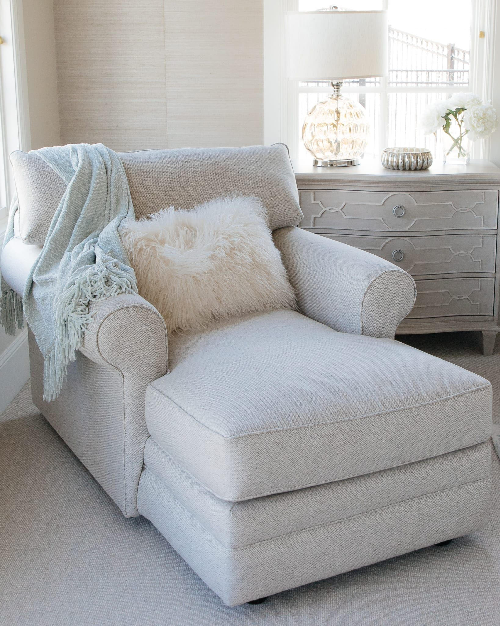 Home with Holly J | Master bedroom refresh, spring decor, how to style master bedroom, sea salt blue decor, neutral colors, wallpaper, gold tray, faux flowers, bedroom, home tour, home decor, chaise lounge chair, accent pillows, bedroom update, neutral patterns in the home, dream bedroom