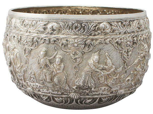 Burmese Silver Thabeik Bowl Antique Circa 1880 Burmese