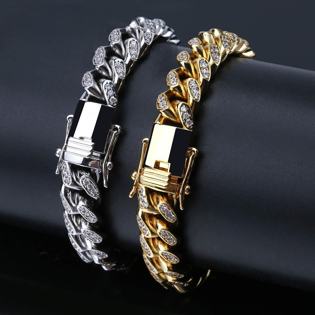 10mm Miami Cuban Link Bracelet White Gold Mens Gold Bracelets Gold Chains For Men Chains For Men