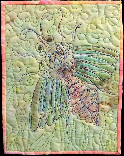 Fantasy Bug July By Linda Teddlie Minton Art Quilts Fabric Painting Fabric Art