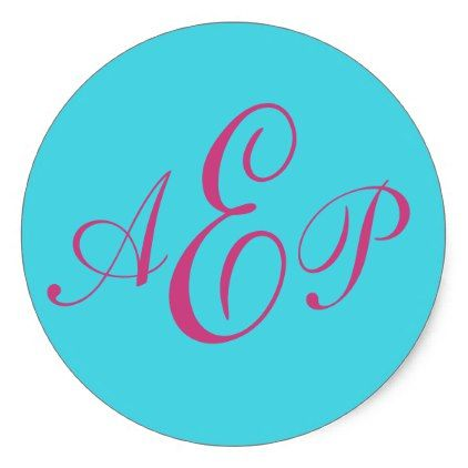Preppy three initial script monogram classic round sticker girly gift gifts ideas cyo diy special