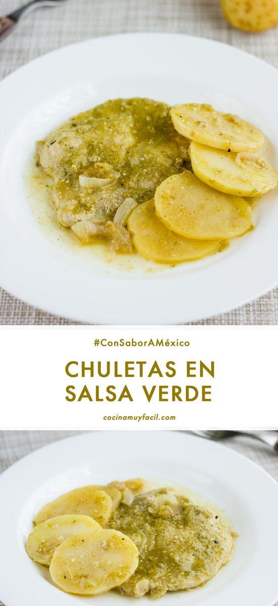 Chuletas En Salsa Verde Receta Cocina Muy Facil Receta Recetas Mexicanas Recetas De Chuletas Recetas De Chuletas De Cerdo