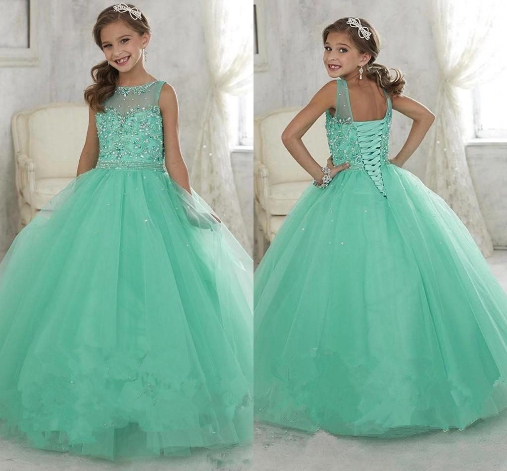 2017 Cute Mint Green Little Girls Pageant Dresses Tulle Sheer Crew ...