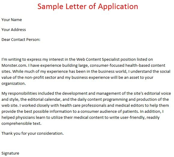 Job Application Letter Example October Following  Home Design
