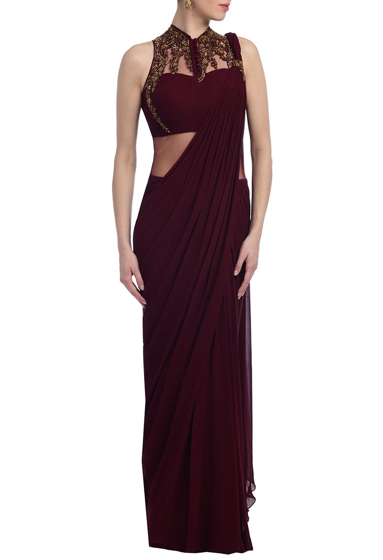 7dffa7ed1ee Wine   gold embellished sari gown by Gaurav Gupta - Shop at Aza ...