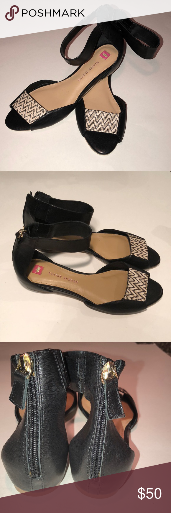 9351258548c72 Elaine Turner Leather Sandal This Sandle is black leather. Size 9. Weaved  top of
