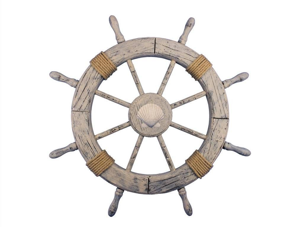 """Wooden Rustic Decorative Ship Wheel With Seashell 30"""""""