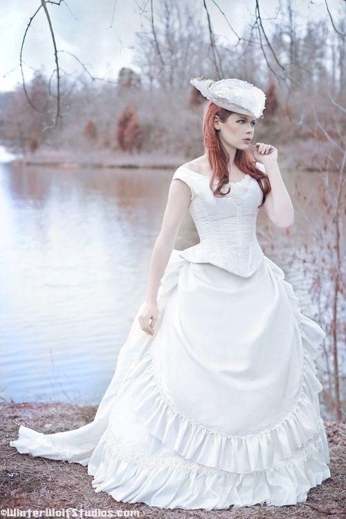 Victorian reproduction steampunk corset wedding set with for Steampunk corset wedding dress