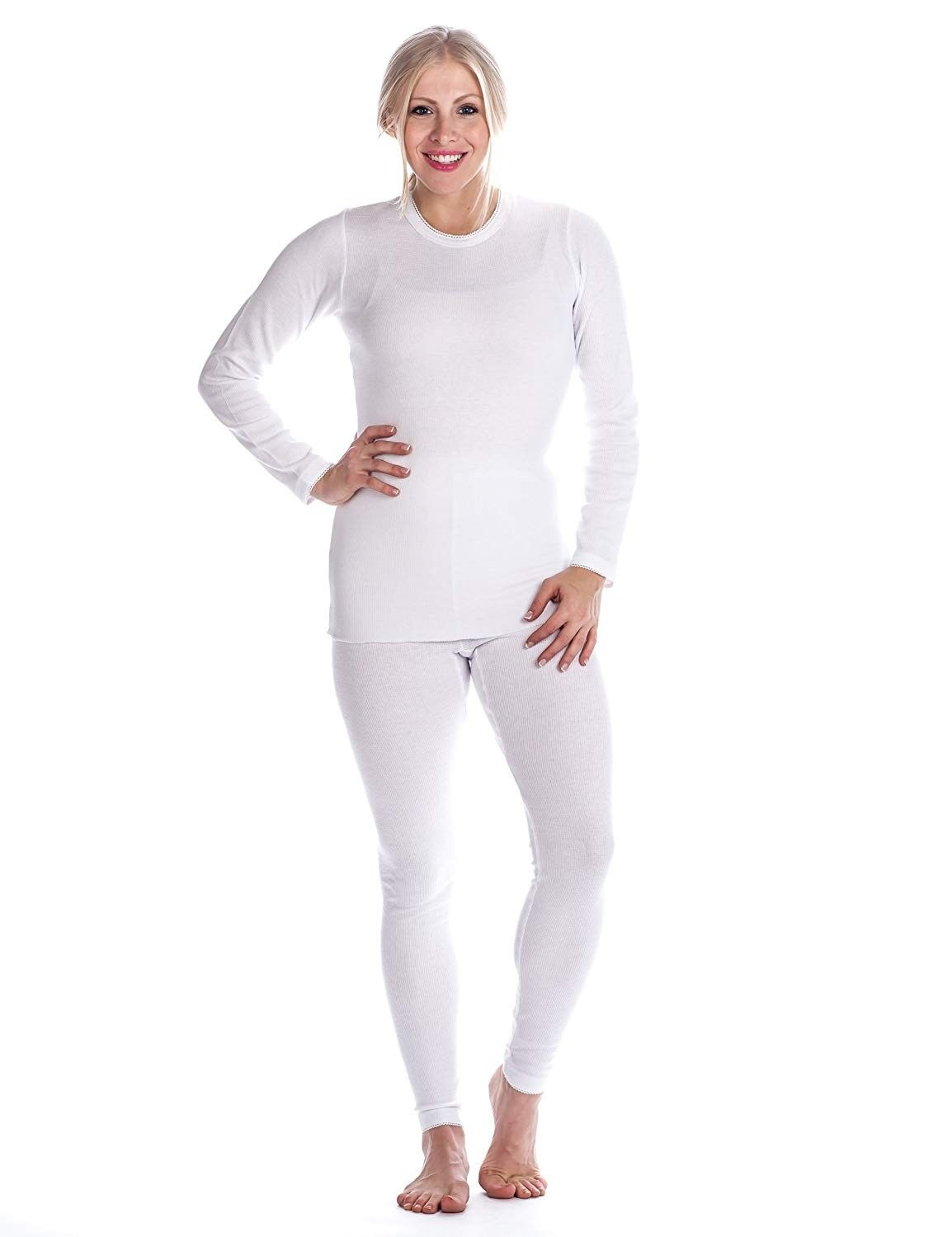 Womens Extreme Cold Waffle Knit Thermal Crew Top - White - CR11KLW28XB - Sports & Fitness Clothing,...