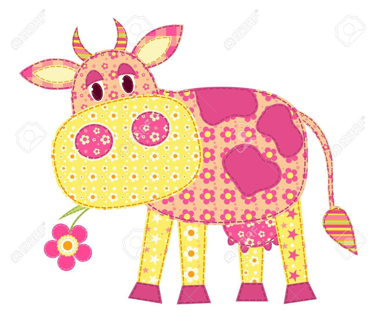 Aplicación de vaca aislado en blanco. Patchwork serie. ilustración.