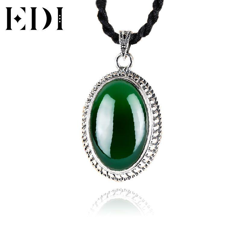 100/% 925 Sterling Silver Necklace Pendant For Women Retro Natural Precious Stones Vintage Thai Silver Pendant Jewelry