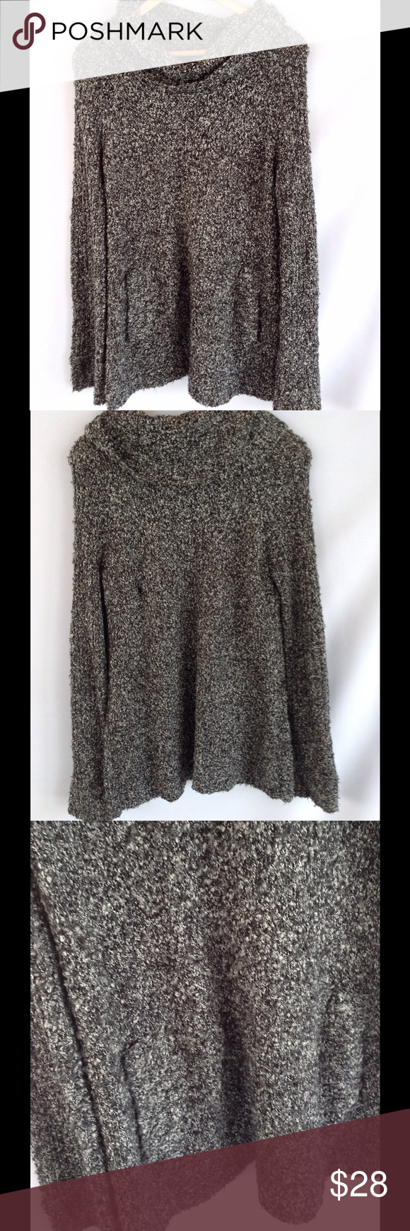 Daisy Fuentes Pepper Cowl Neck Sweater w/ Pockets Gorgeous black ...