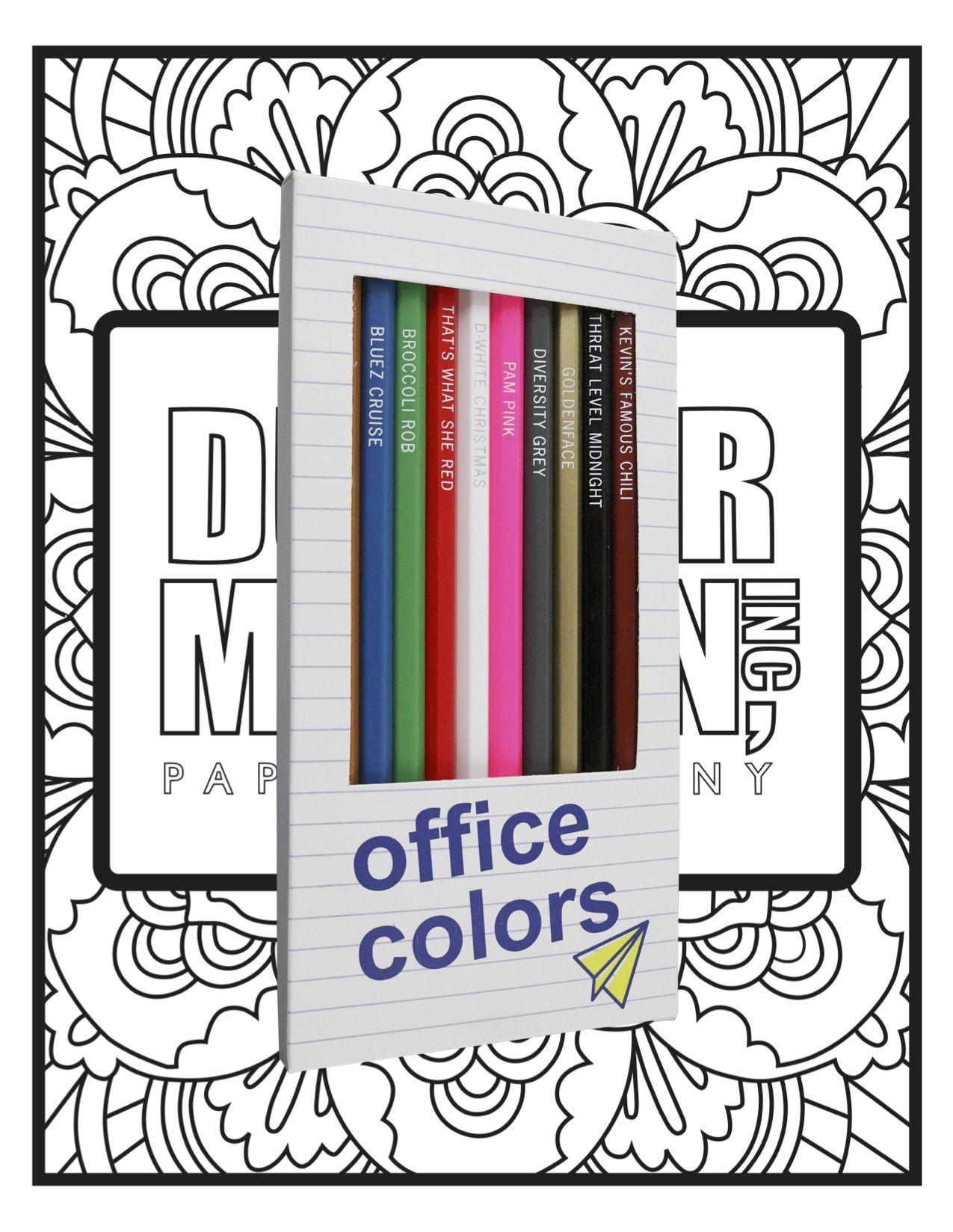 Office Colors Pages Bundle Office Colors Colored Pencils Colored Pencil Coloring Book