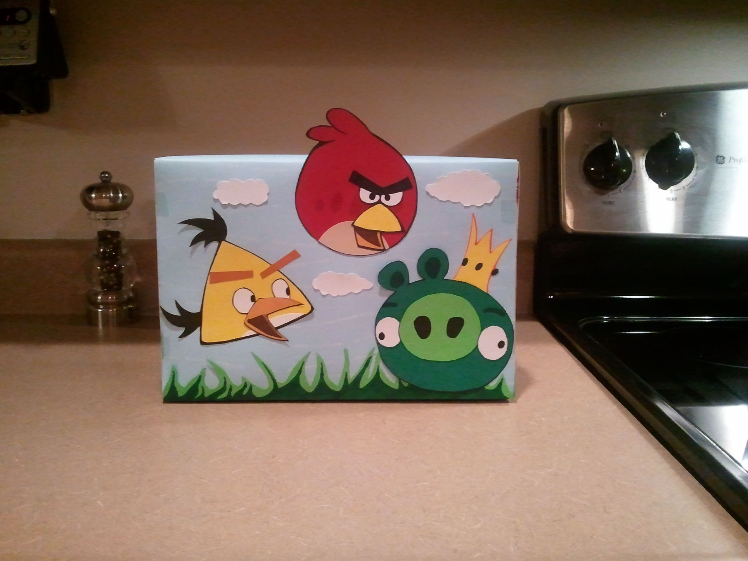 Valentines Box.  My son and I made this tonight.  This is all completely hand drawn and cut out and glued on a shoe box.  There is a slit in the top of the box for his classmates to put his Valentines in.