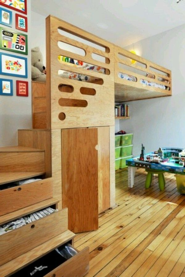 Kinderzimmermöbel selber bauen  Hochbett mit Holztreppen mit Schubladen zur Aufbewahrung ...