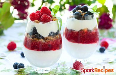 Enjoy a little red, white and blue with these festive yogurt parfaits! Recipe serves one, but can easily be tripled or quadrupled to serve at a cookout or party.