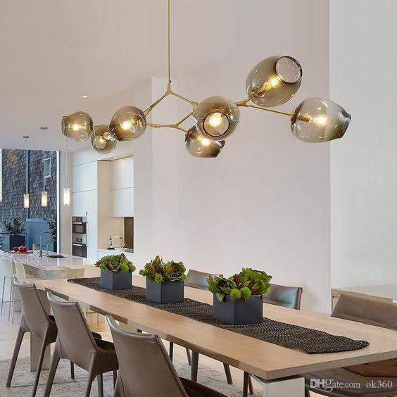 Branched Smoked Multi Bulb Hanging Pendant Light For Nordic Modern
