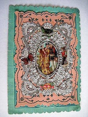 Vintage victorian #antique #valentine card - #woman in kimono w/fan & silver lace,  View more on the LINK: http://www.zeppy.io/product/gb/2/262261046982/