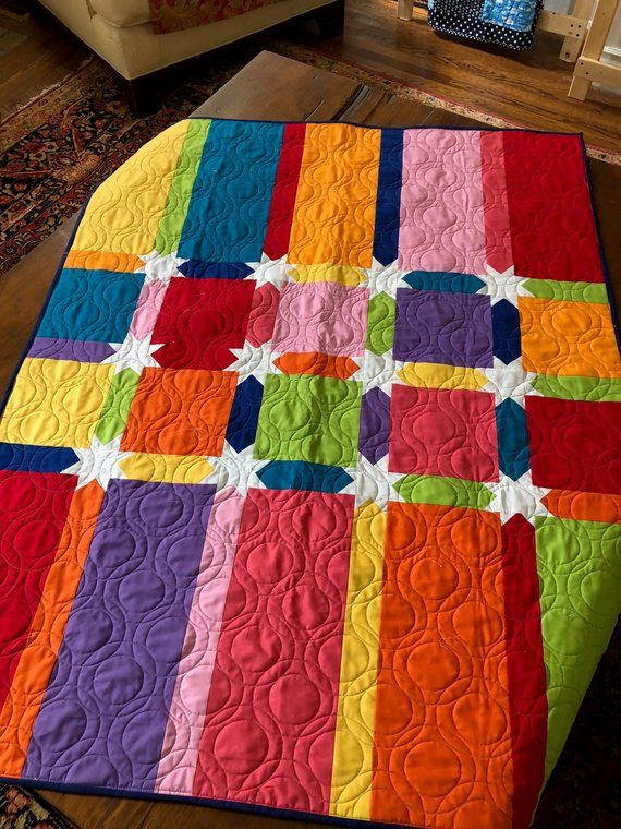Kinder Quilt Patronen.Colors And Stars Baby Quilt Etsy 42 X 52 Pattern Cheerios