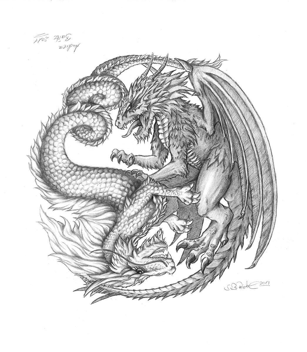 Illustration Bleistiftzeichnung Yin Yang Drachen
