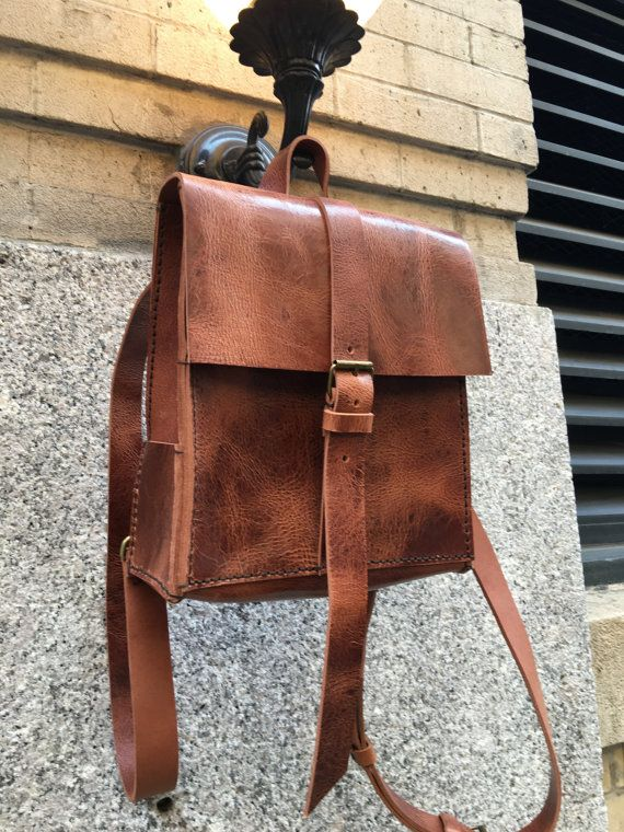 iPad Backpack Thick Leather Rucksack City Purse Convertible ...