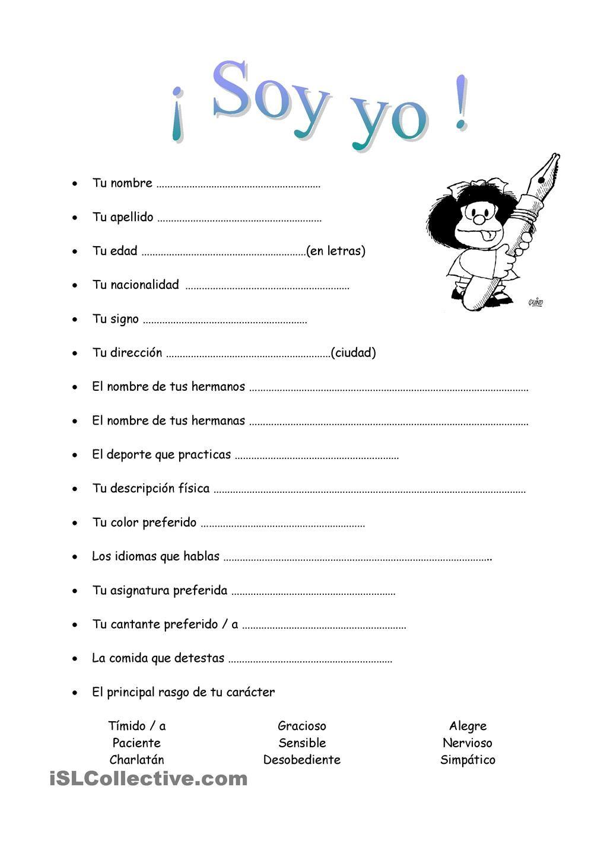 Soy yo. Cuestionario Mafalda. | acti | Pinterest | Spanisch ...