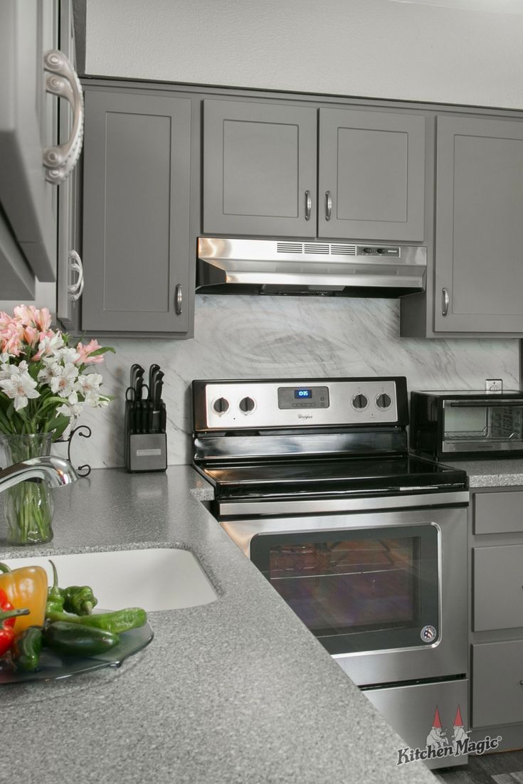 Best Our Statesman Shaker Style Cabinets In Suede Gray Corian 640 x 480