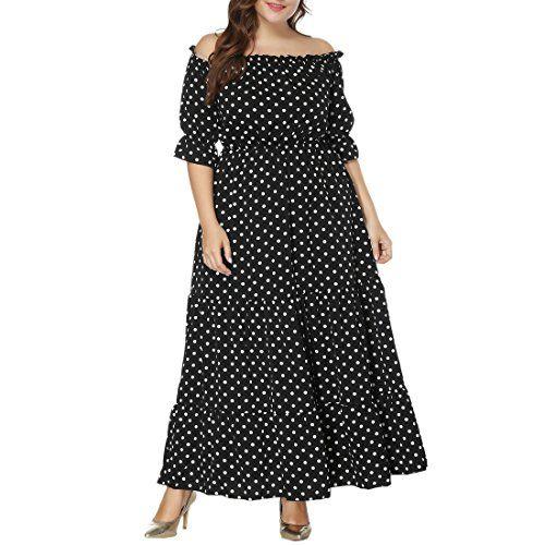 6c52de5d183 Les femmes Plus Size été longue robe XL-6XL noir couleur blanc points manches  courtes