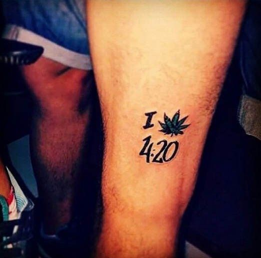 """I Love 420"" Tattoo. Short and to the point, this person ..."