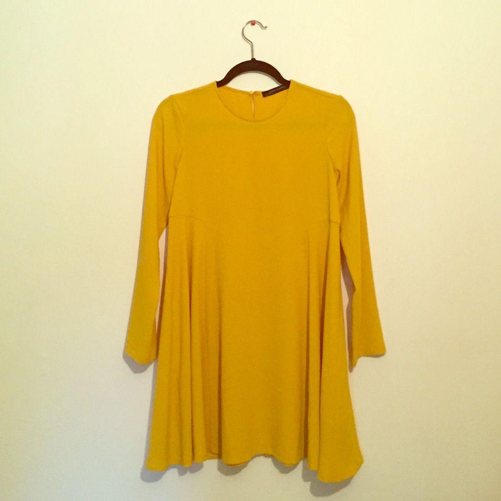 Zara 60'S Style Long Sleeve Mini Dress Xs
