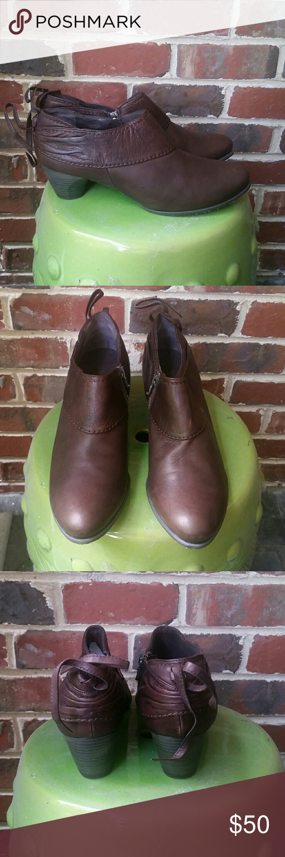 Antia Leather Booties, size 12 Brown leather Antia booties, size 12 (label says 42.5), never worn. Antia Shoes Ankle Boots & Booties