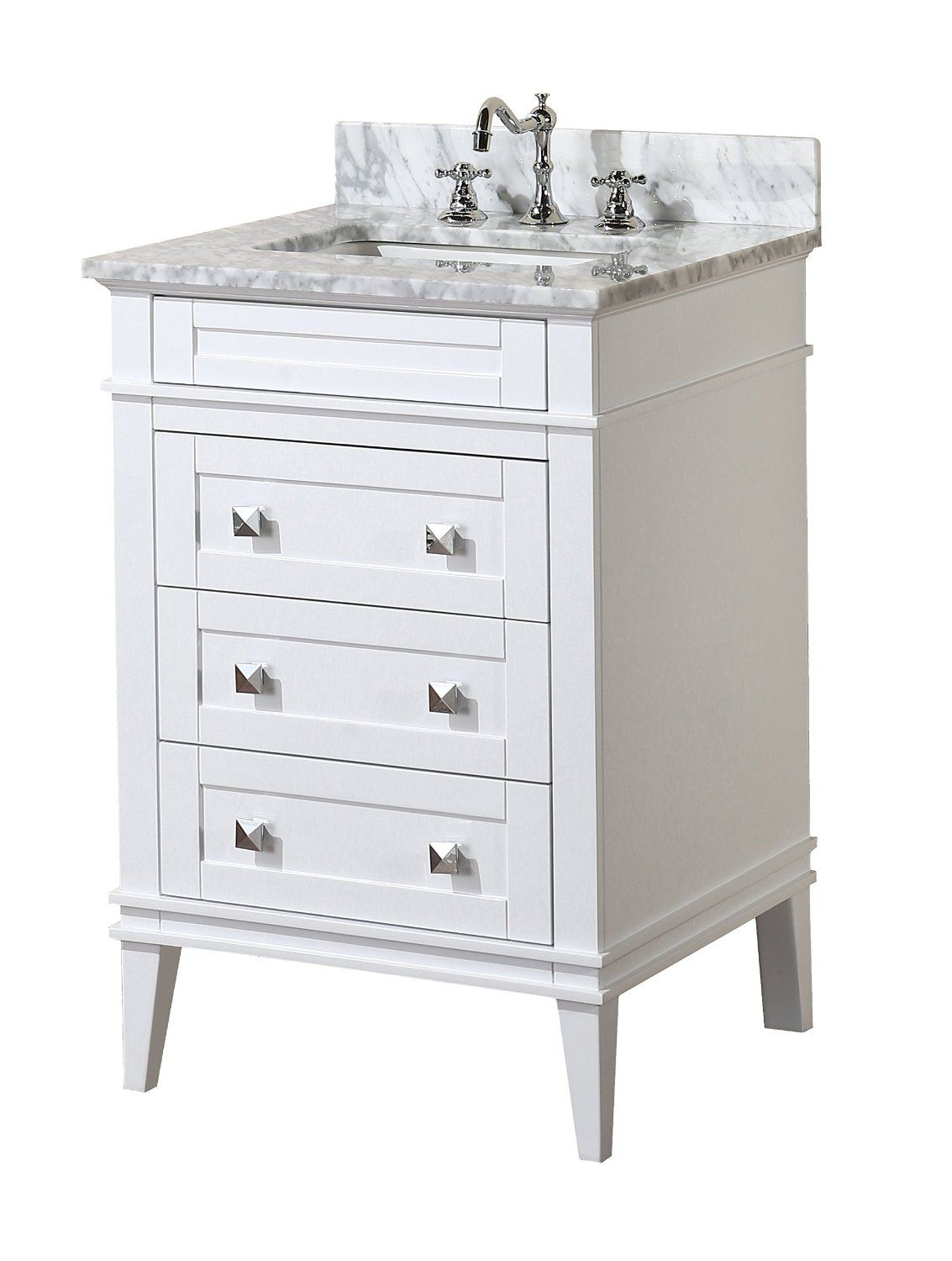 Eleanor 24 Inch Bathroom Vanity Carrara White Includes A Cabinet Soft Close Drawers Natural Italian Marble Countertop And Ceramic