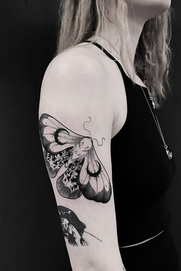 Gorgeous Blackwork Moth Tattoo With Crescent Moon And Paint Spot Details Done By Laura At Hidden Hands Tattoo In Kenti In 2020 London Tattoo Moth Tattoo Hand Tattoos