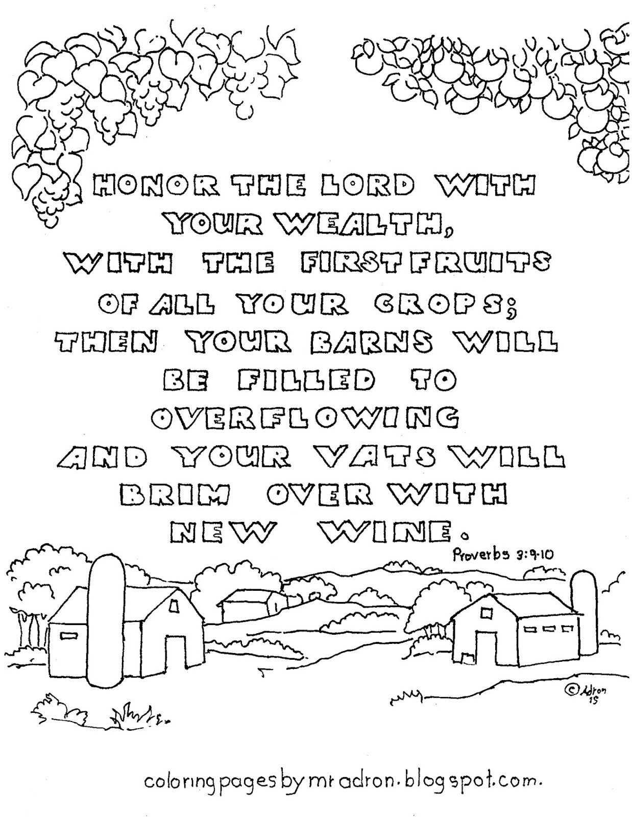 Coloring Pages For Kids By Mr Adron Proverbs 3 9 10