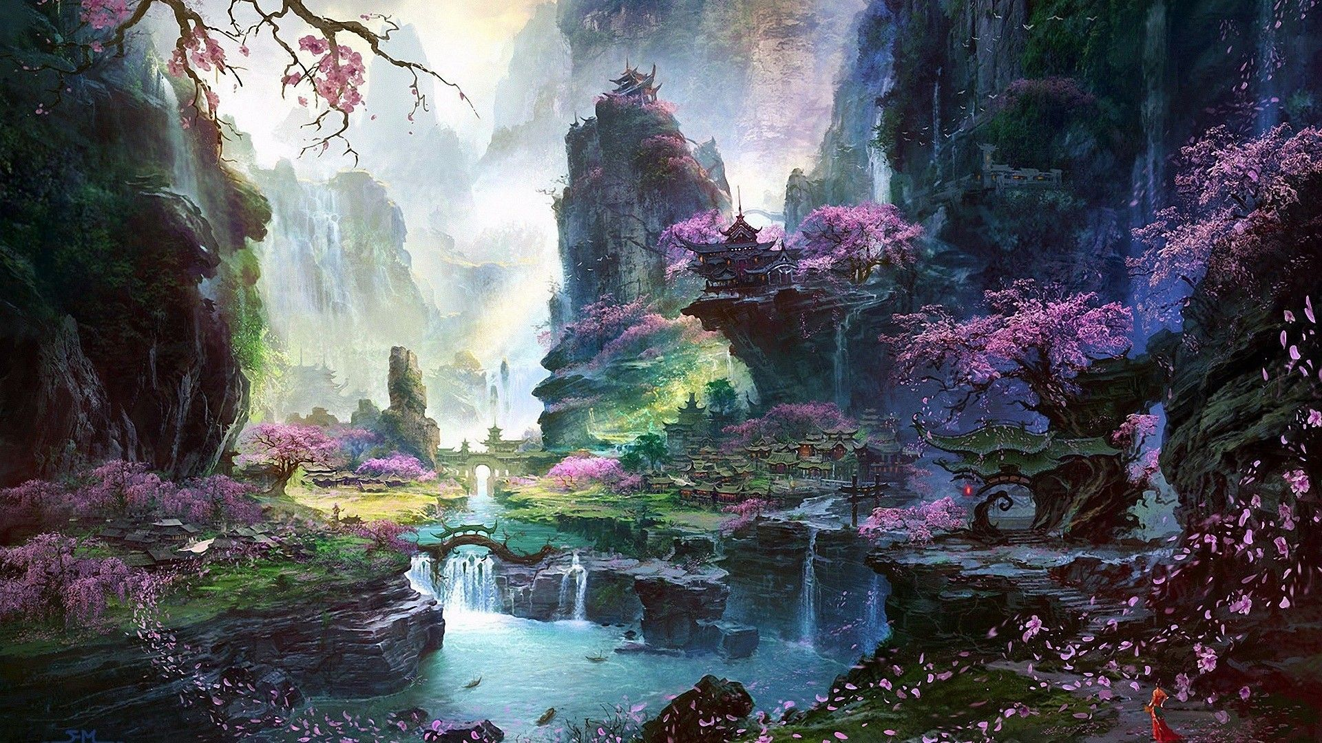 Artwork Bridges Cherry Blossoms Fan Ming Fantasy Art Landscapes Mountains Waterfalls Pictures And Images
