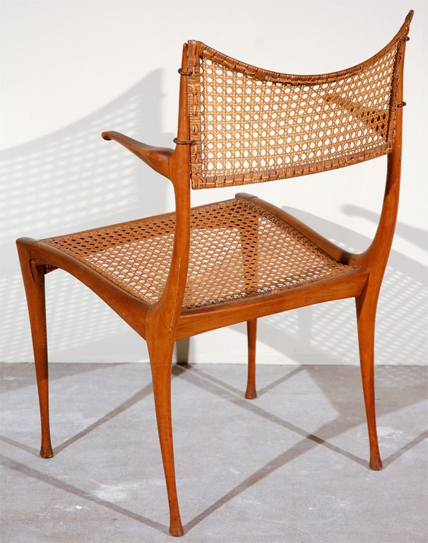 Gazelle Wood And Cane Arm Chair By Dan Johnson From A Unique