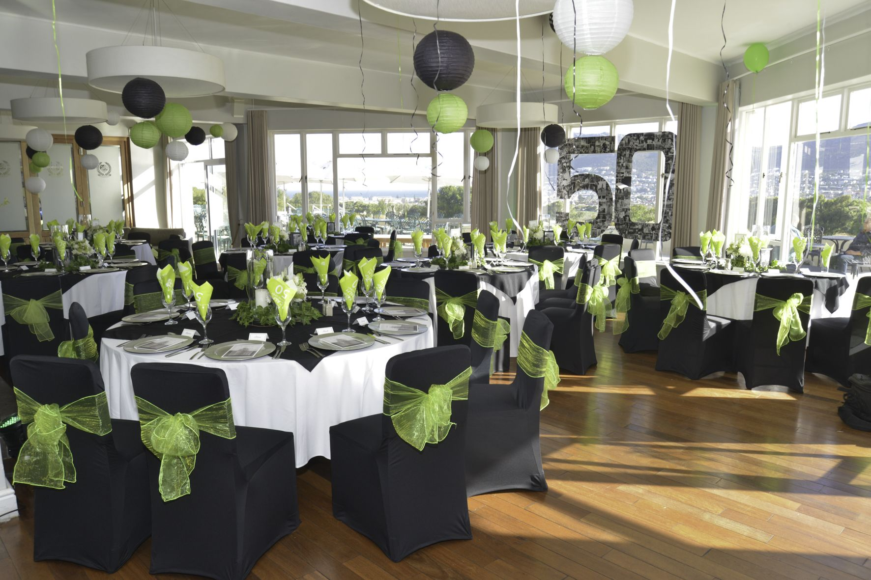 50 Birthday Parties Venue Decor In Black, White And Lime