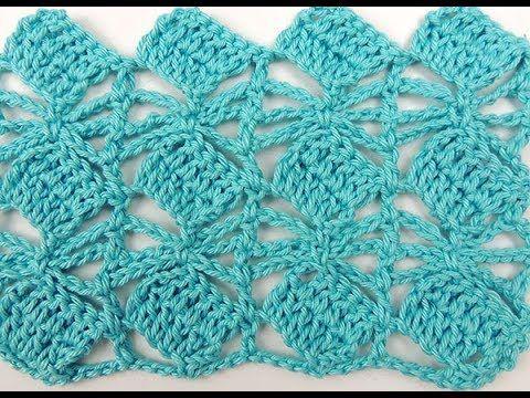 Como tejer fácil con Gancho Crochet punto de flores estrellitas ...