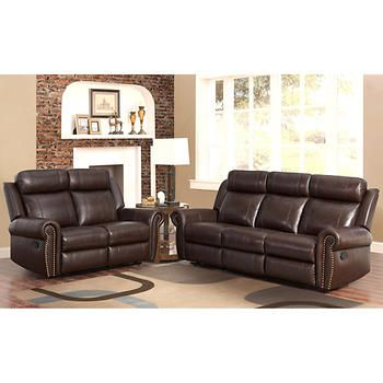 Fairfax 3 Piece Top Grain Leather Reclining Living Room Set Pictures Of Tables 2 Den Furniture