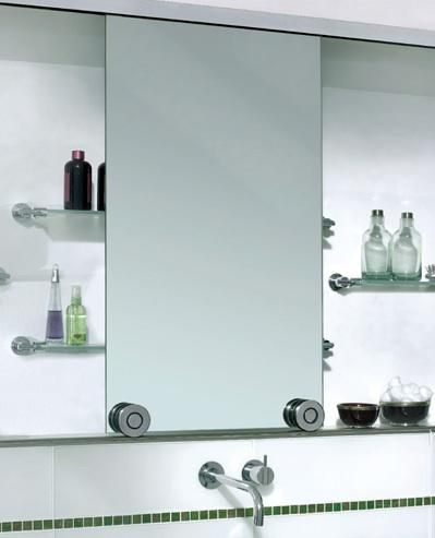 Mirror Deep Medicine Cabinet With Sliding Except Two Mirrors On Each Side And The Open Shelf In Middle Tiled Back