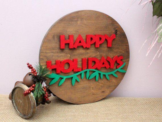 Happy Holidays Sign, Winter Home Decor, 12\