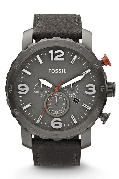 5a68f1a5c2907 Fossil Nate Chronograph Leather Watch - Grey
