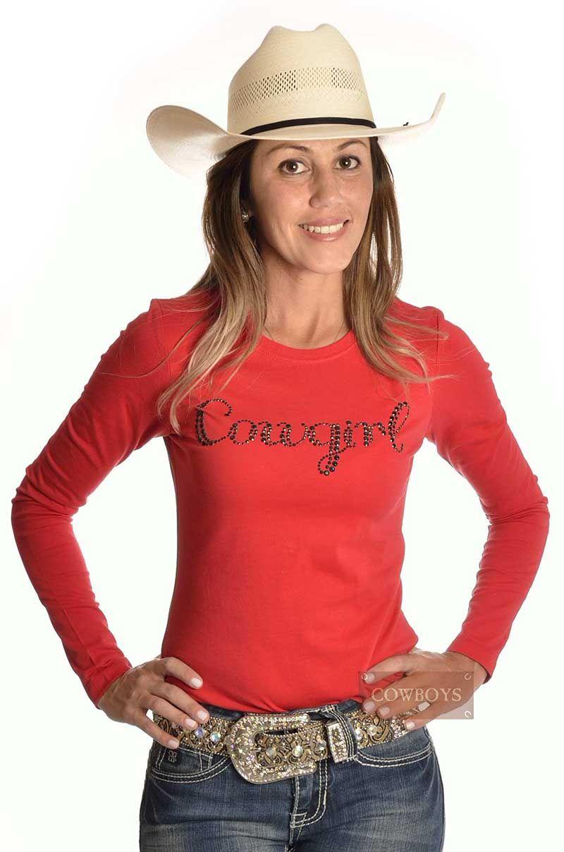 0d45f3031 Blusa manga longa Vermelha Cowgirl Bordada Blusa feminina com manga longa  na cor vermelha. Possui a palavra Cowgirl feita em aplique.