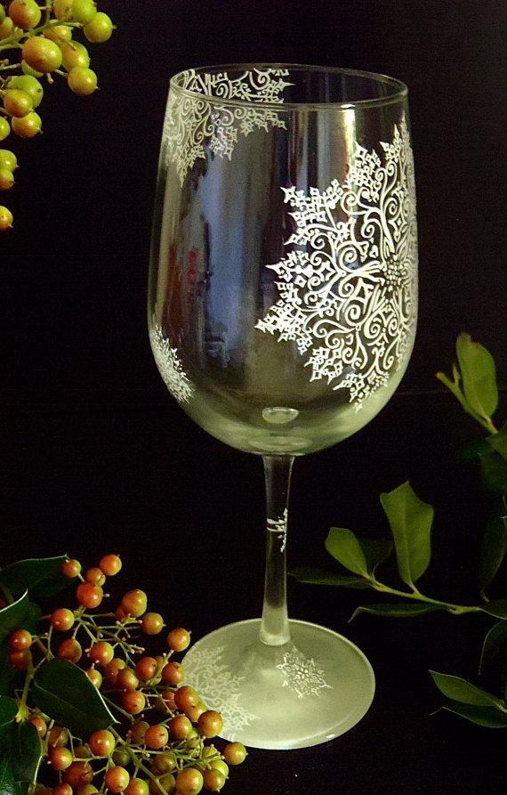 Beautiful White Snowflake Winter Wine Glass Hand Painted