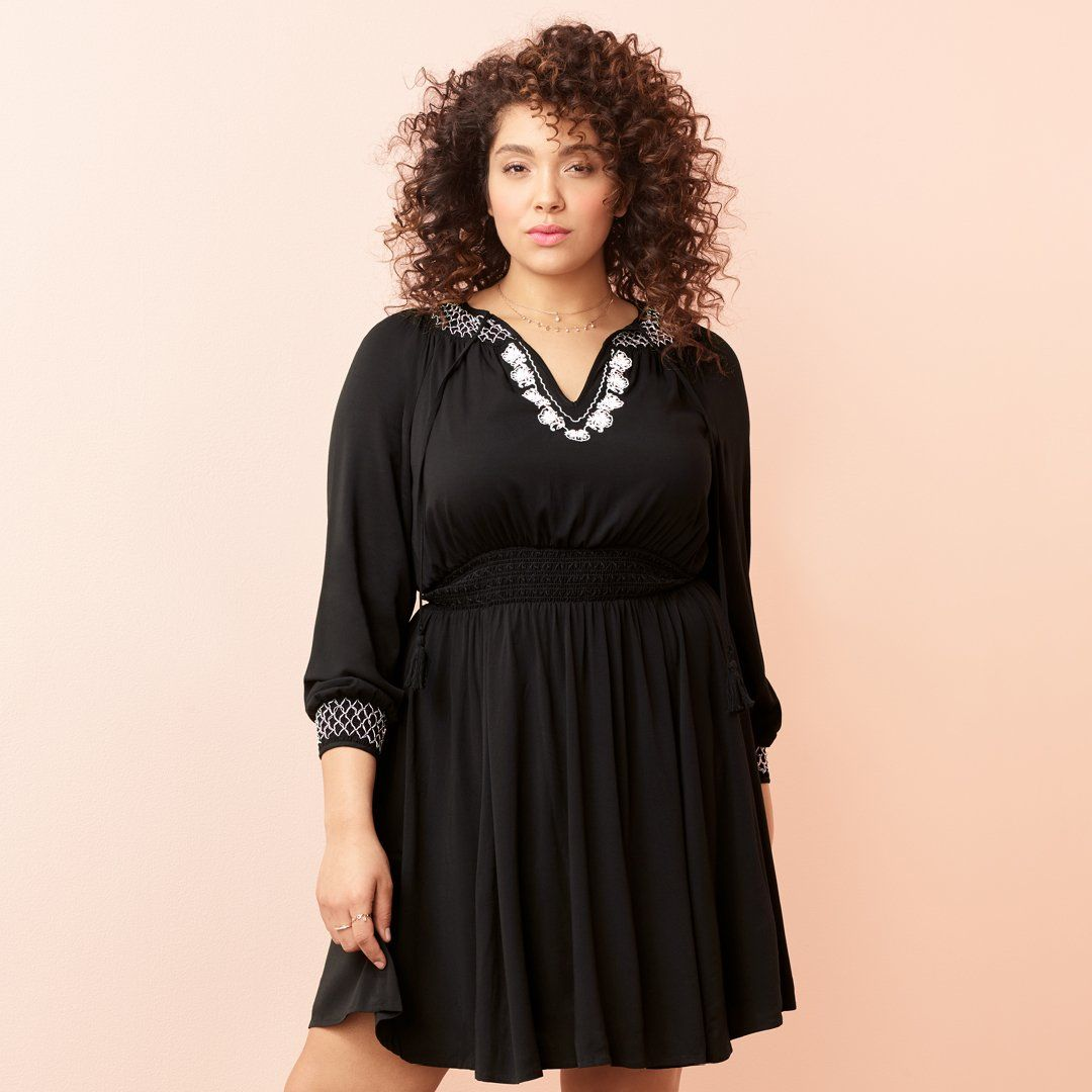 Black Smock Neck Skater Dress | Torrid | Plus Size Fashion | Now in ...
