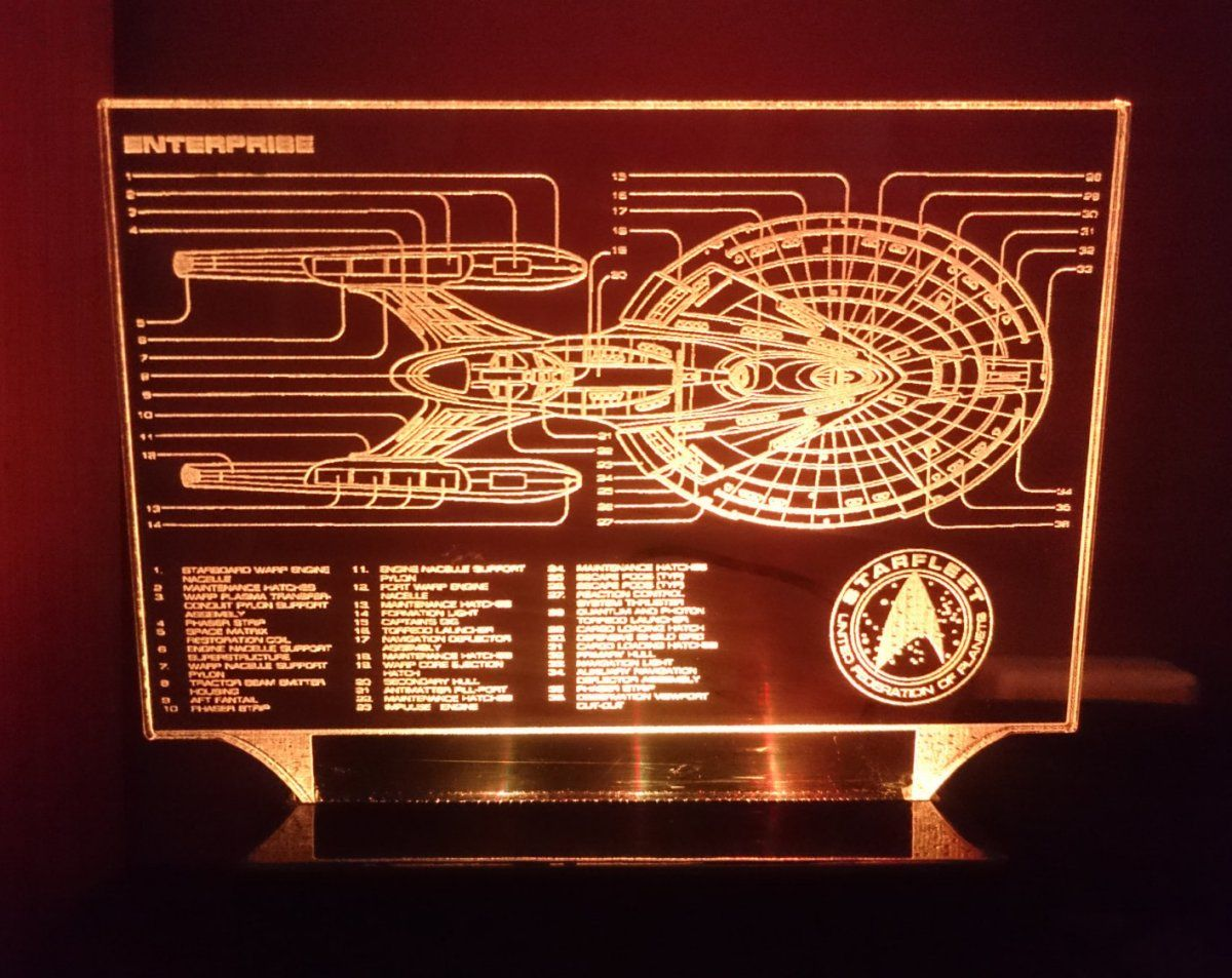 Star Trek Enterprise Blue Print Color Changing Led Desk