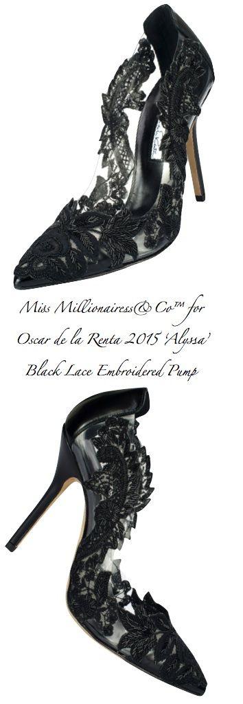 Oscar de la Renta 2015 'Alyssa' Black Lace Embroidered Pump - Miss Millionairess's Boutique™