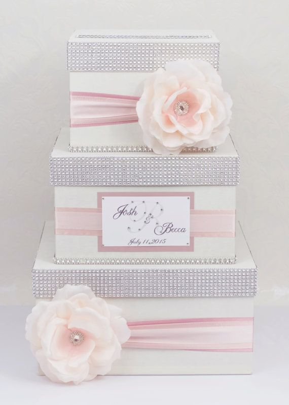 Wedding Gift Boxes Pinterest : Card box / Wedding Box / Wedding money box3 tierombre pink ...