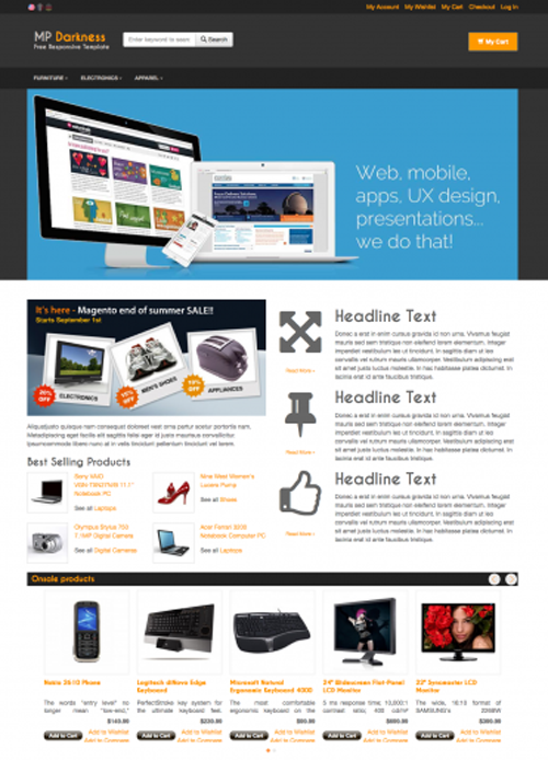 This Free Magento Theme Includes A Responsive Layout Twitter